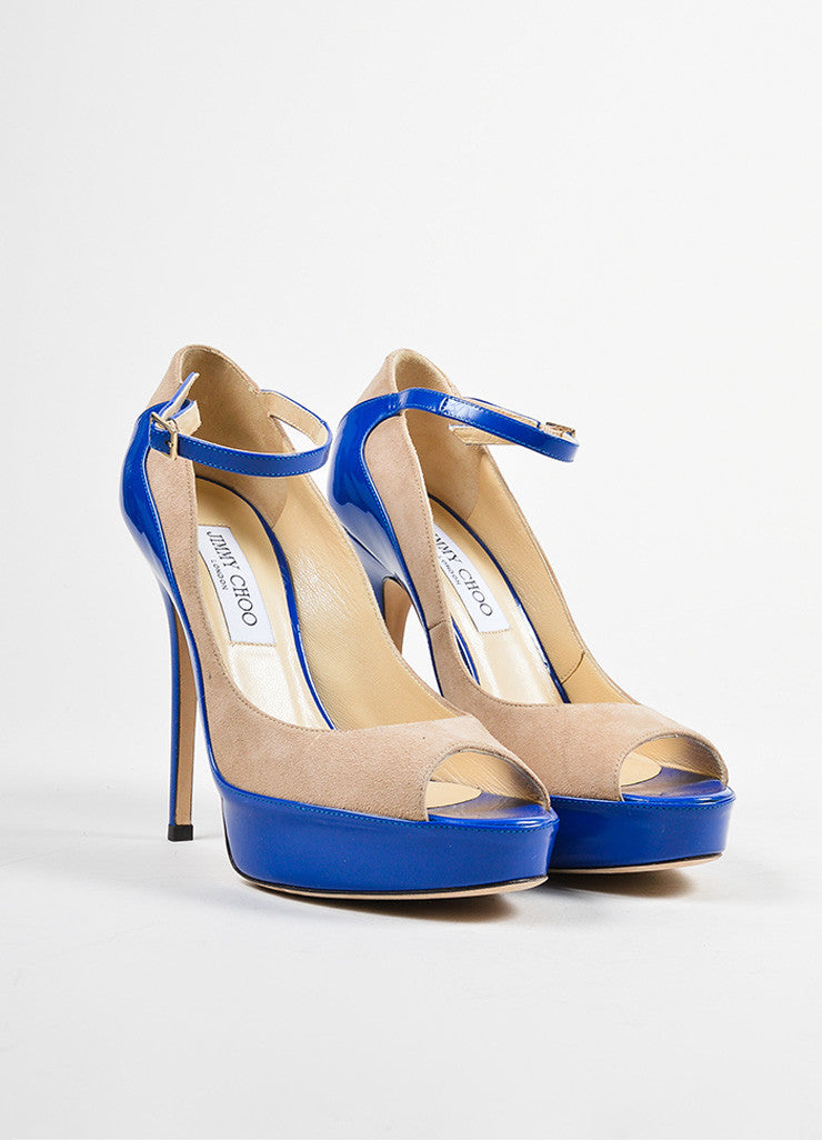 "Blue and Tan Jimmy Choo Suede Patent Color Block Peep Toe ""Tami"" Pumps Frontview"