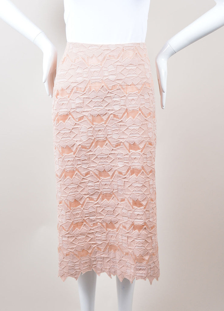 Jonathan Simkhai Pink Geometric Lace and Mesh Pencil Skirt Frontview