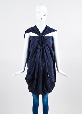 Navy Lanvin Silk Bronze Toned Hardware Lace Up Oversized Tunic Frontview
