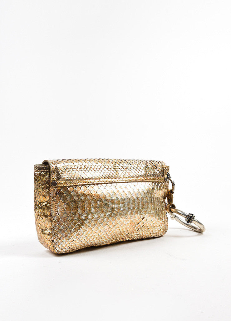 Lanvin Gold and Silver Metallic Python Leather Ring Handle Clutch Bag Sideview