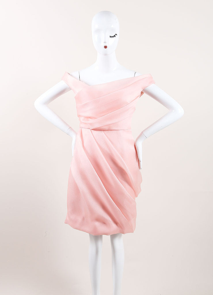 Lela Rose New With Tags Light Pink Silk Woven Pleated Off the Shoulder Dress Frontview