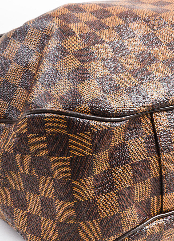"Ebene Brown Louis Vuitton Coated Canvas Damier GM ""Evora"" Bag Detail 2"