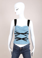 Louis Vuitton Blue and Black Wool and Velvet Bow Cropped Bustier Frontview