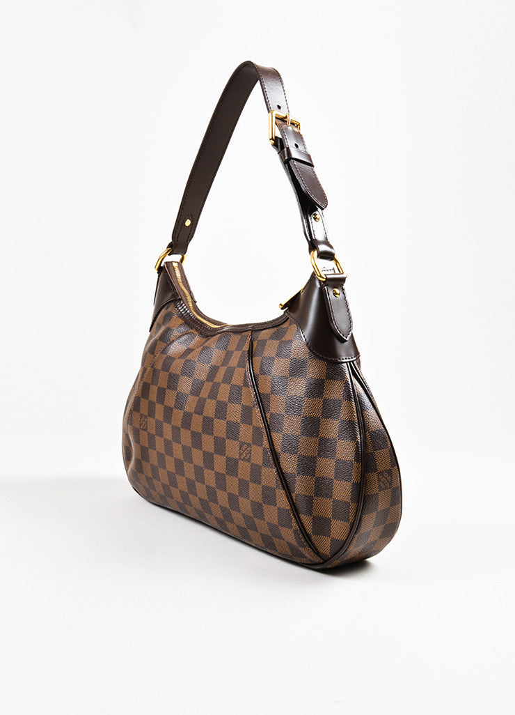 "Louis Vuitton Brown Damier Ebene Canvas ""Thames GM"" Hobo Shoulder Bag Sideview"