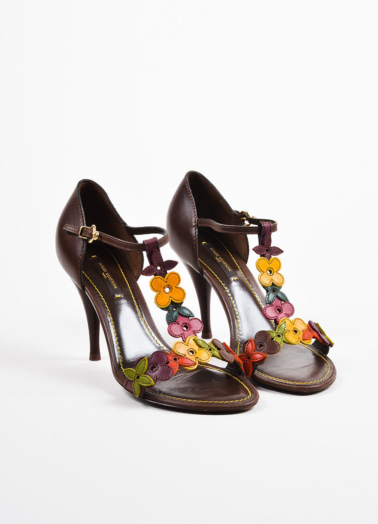 Louis Vuitton Brown Multicolor Leather Flower Sandal Heels Front