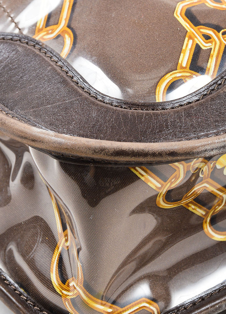 "Brown Louis Vuitton Vinyl and Leather Charms Chain Print ""Musette"" Cross Body Bag Detail 2"
