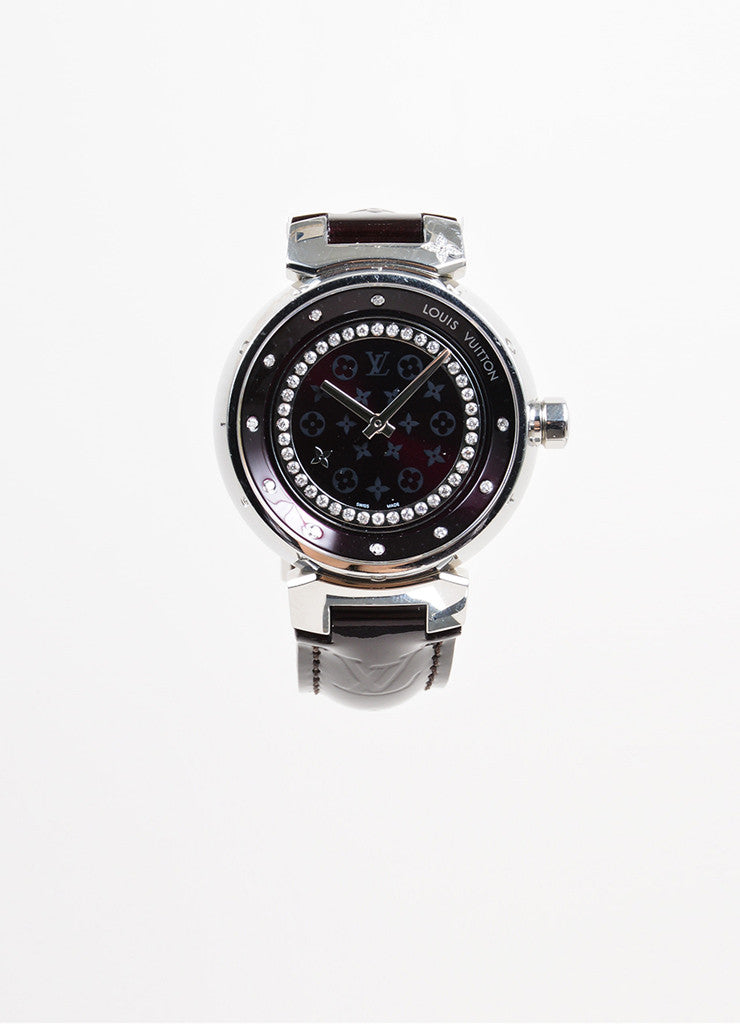 "Stainless Steel and Maroon Monogram Leather Louis Vuitton ""Tambour Disc 34mm"" Watch Frontview"