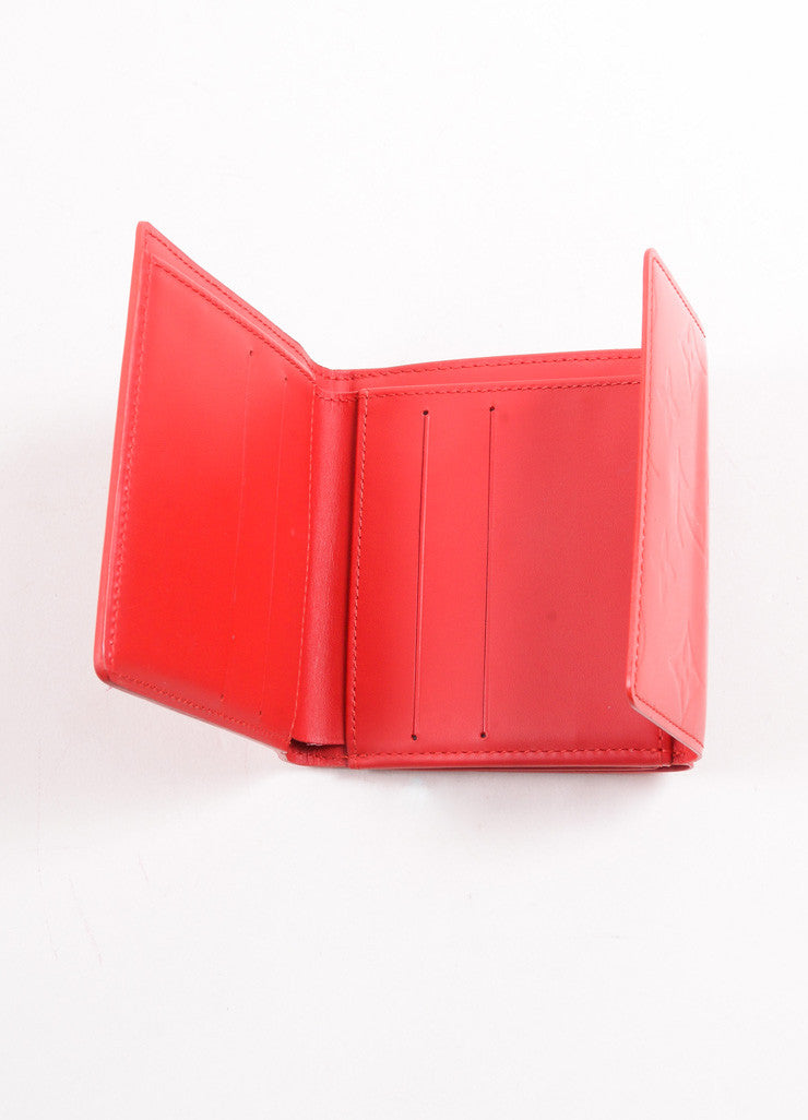 "Louis Vuitton Red Monogram Vernis ""Elise"" Fold Wallet Interior"