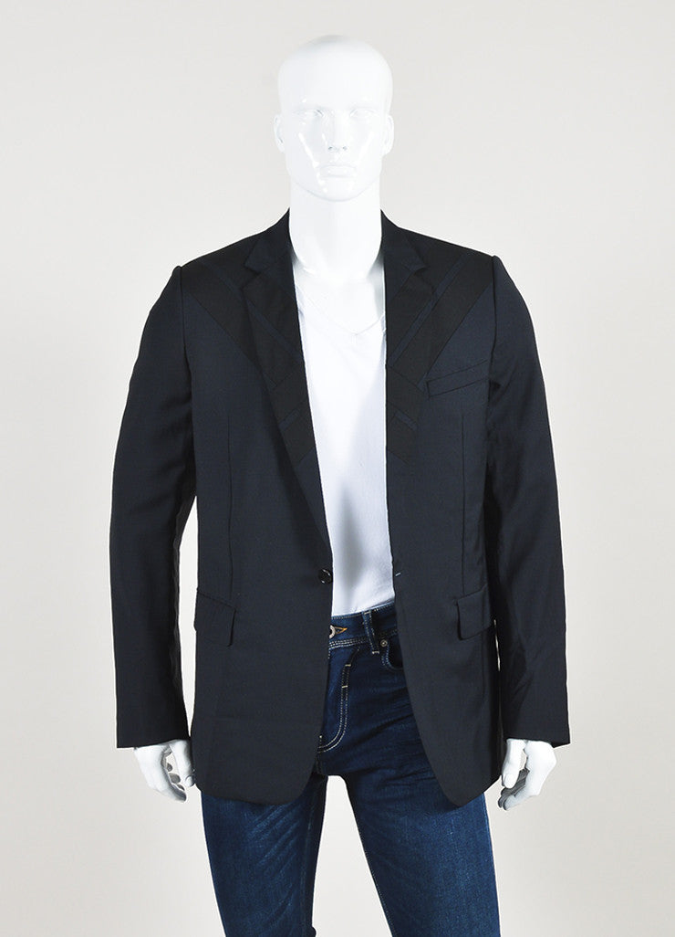 Men's Dolce & Gabbana Navy Blue Black Wool Geometric Panel Jacket Front