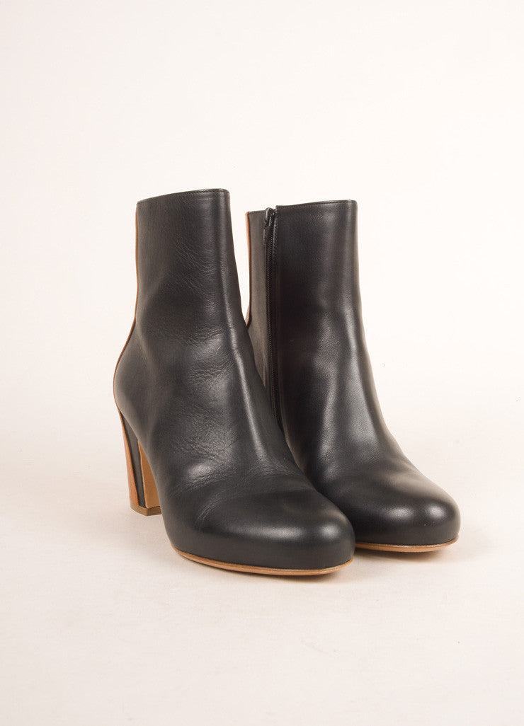 Maison Martin Margiela Black and Brown Leather Ankle Boots Frontview