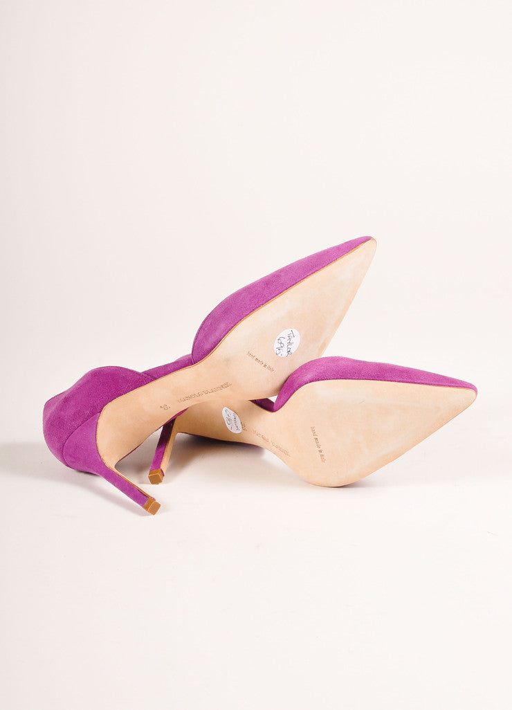 "Manolo Blahnik New In Box Purple Suede Leather Pointed Toe ""Tayler"" Pumps Outsoles"