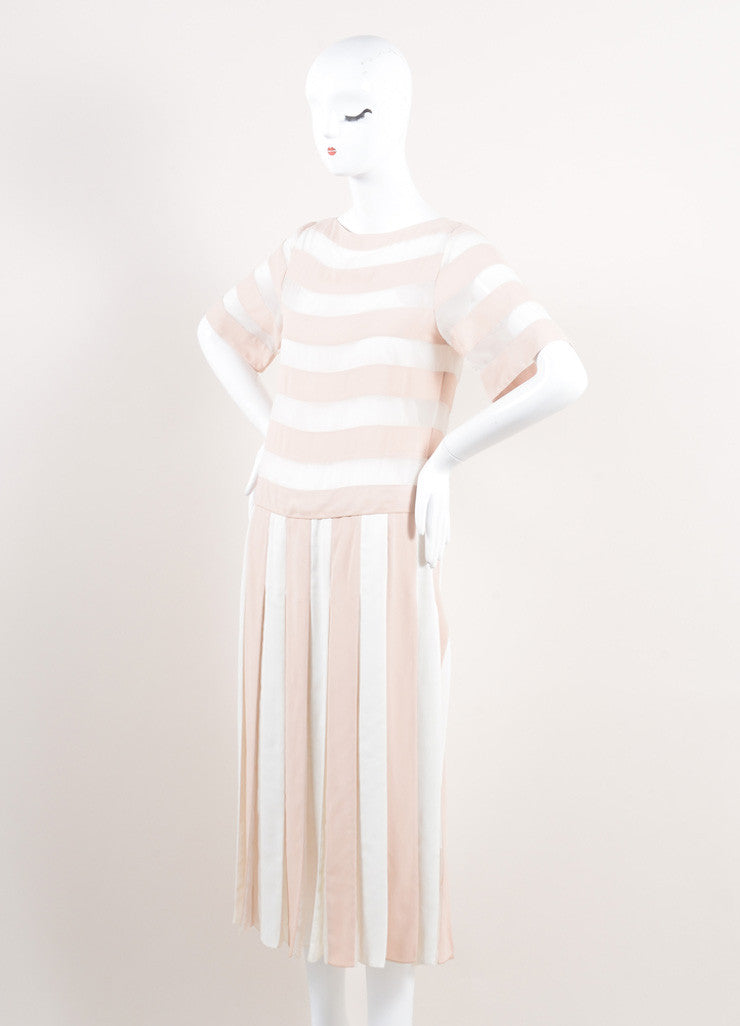 Marc Jacobs New With Tags Nude and Cream Stripe Sheer Panel Short Sleeve Dress Sideview