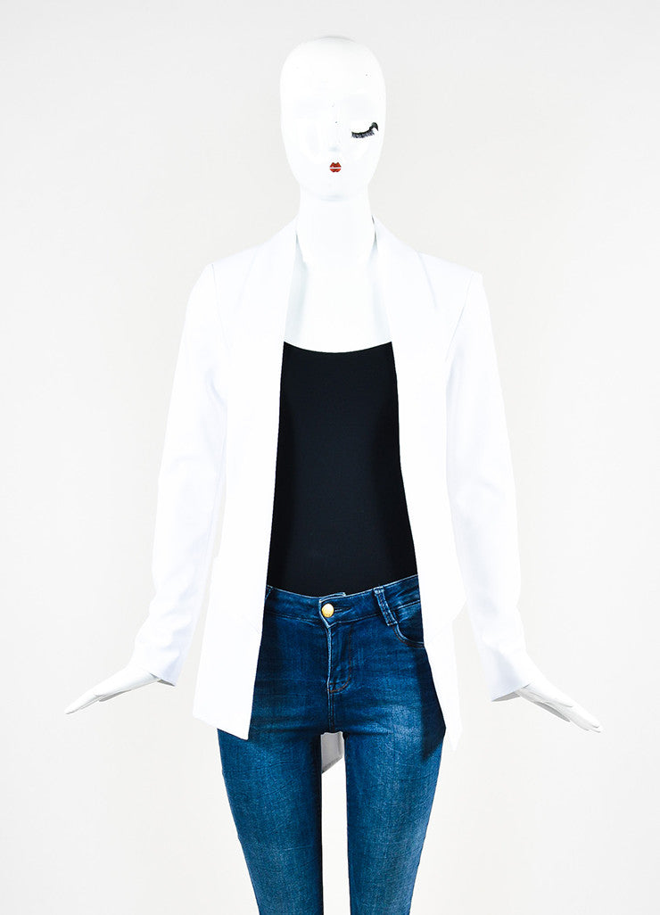 "Marissa Webb White Cotton and Silk Pleated Back ""Brunella"" Jacket Frontview"