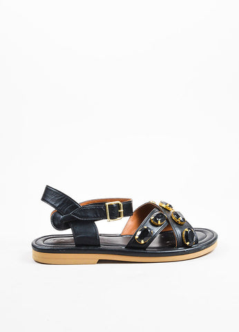 Marni Black Leather Rhinestone Embellished Cross Ankle Strap Flat Sandals Sideview