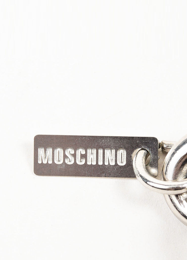 Silver Toned and Multicolor Moschino Enamel Chunky Chain Charm Bracelet Brand