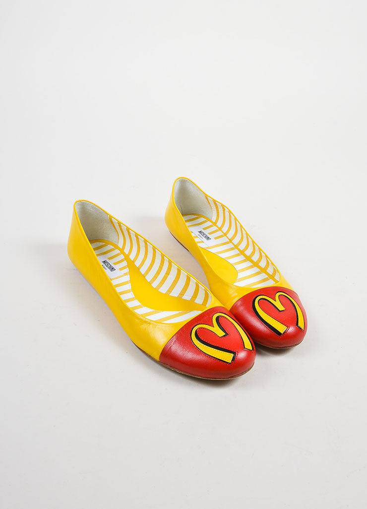 Yellow and Red Leather Moschino Fast Food Cap Toe Flats Frontview