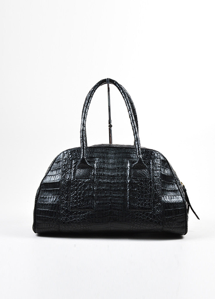 Black Nancy Gonzalez Crocodile Medium Bowler Satchel Bag Frontview