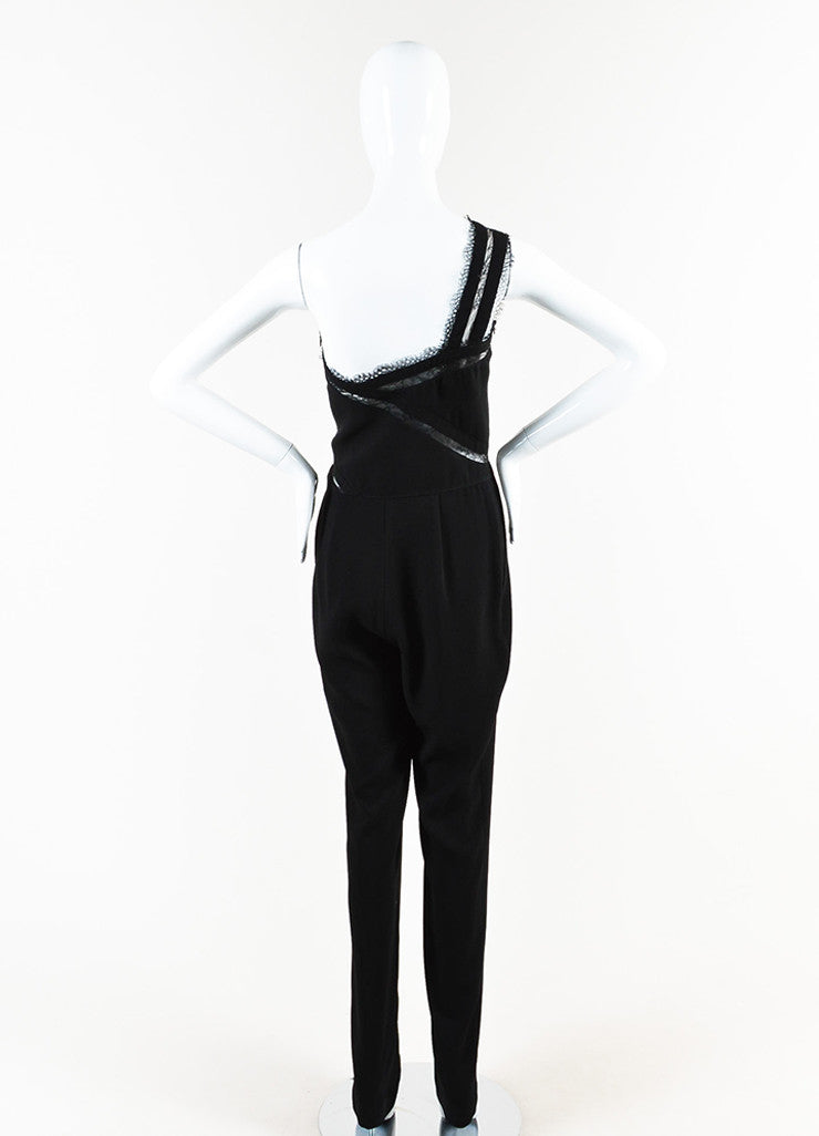 "Noam Hanoch Black Crepe Lace Accent ""Alexa"" One Shoulder Jumpsuit Backview"