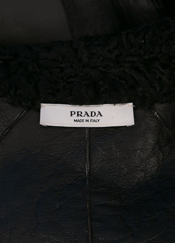 Prada Black Persian Lamb Fur and Leather Textured Long Sleeve Jacket Brand