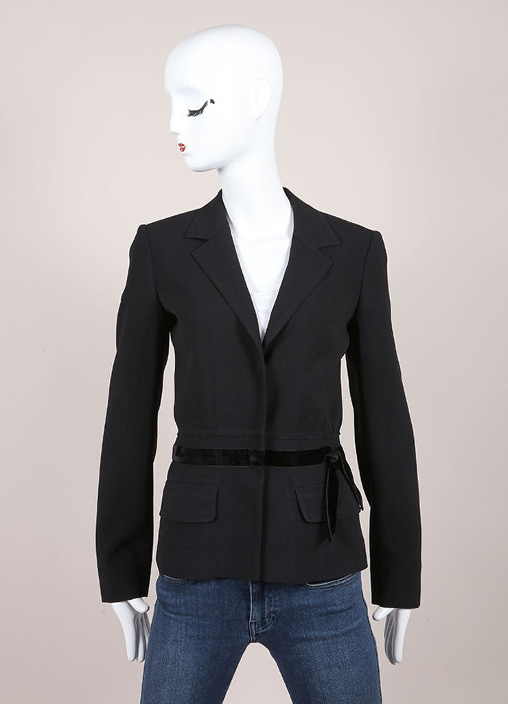 Prada Black Velvet Waist Trim Long Sleeve Snap Button Wool Blazer Jacket Frontview