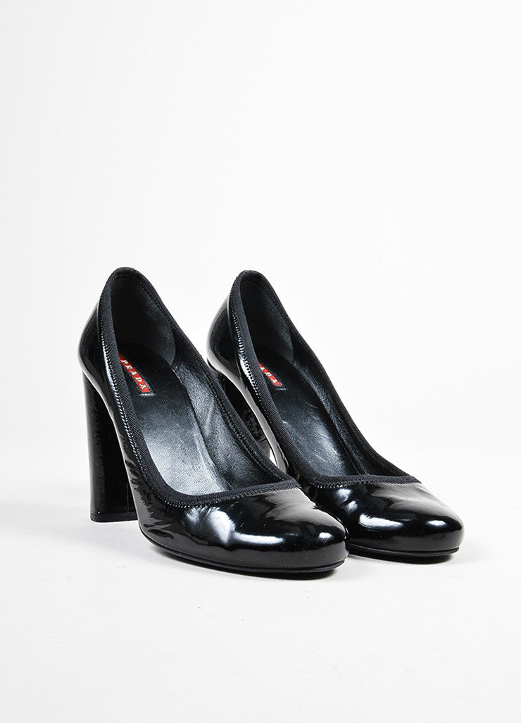 Black Prada Sport Patent Leather Square Heel Round Toe Pumps Frontview
