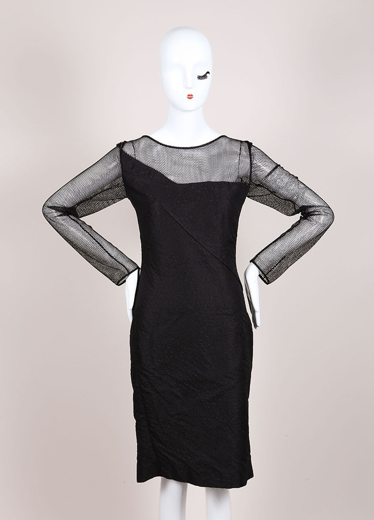 "Roland Mouret New With Tags Black Asymmetric Jacquard and Mesh ""Magnolia"" Dress Frontview"