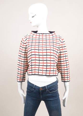 Rosie Assoulin New With Tags Cream, Navy, and Red Wool and Cashmere Checked Sweater Frontview