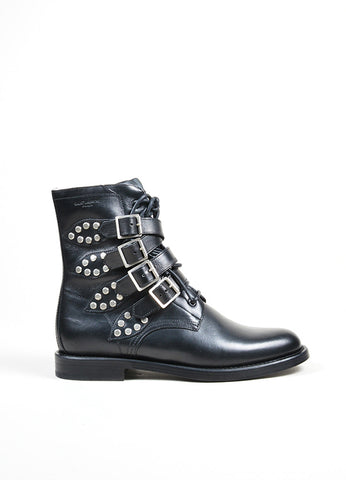 "Black and Silver Studded Buckle Saint Laurent ""Ranger"" Ankle Boots Sideview"