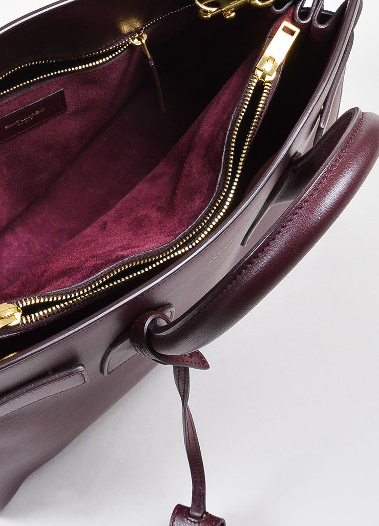 "Burgundy Saint Laurent Leather ""Small Sac De Jour"" Tote Bag Interior"