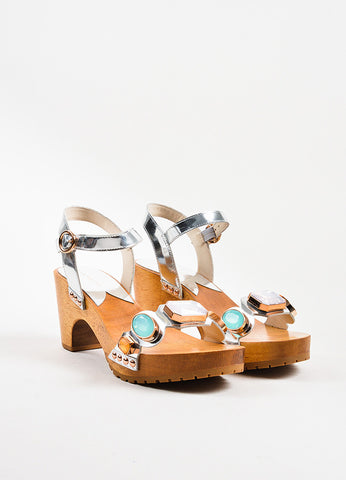 "Sophia Webster Silver, Pink, and Blue Jeweled ""Ava"" Wooden Sandals Frontview"