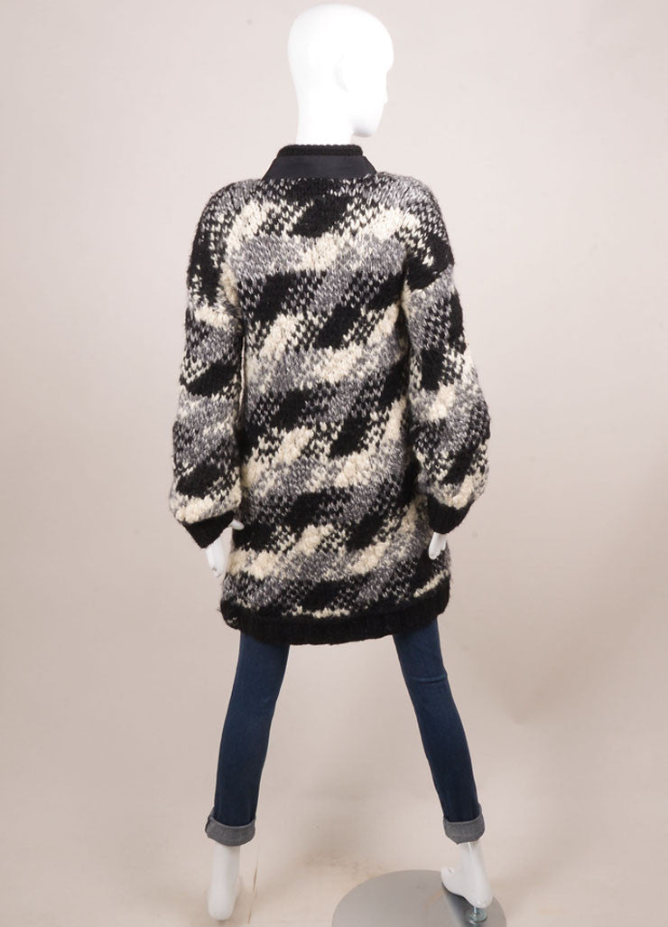 Sportmax Black, White, and Grey Wool Blend Chunky Knit Long Sweater Jacket Backview