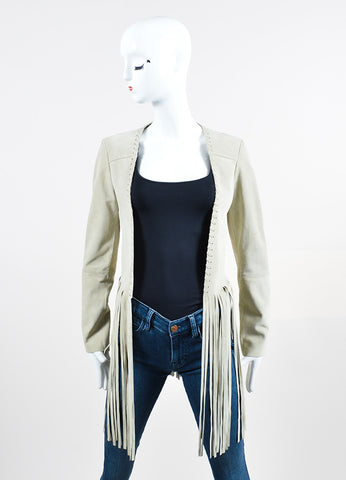 "The Perfext Beige Suede Leather Long Fringe ""Christy"" Jacket Frontview"