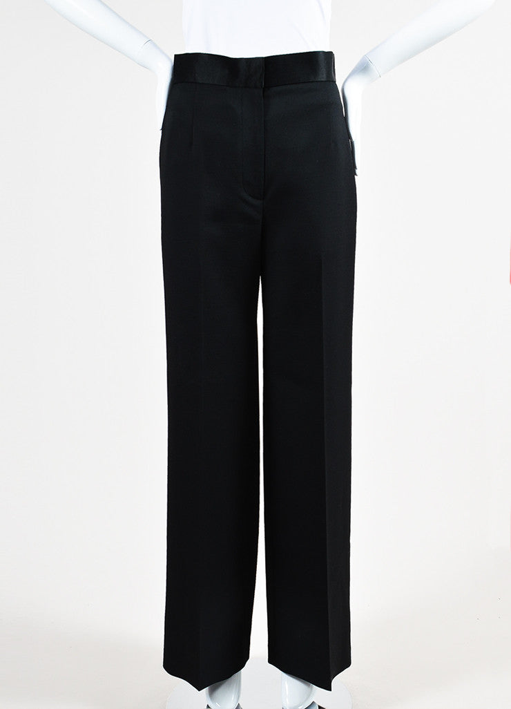 "The Row Black Wool Silk Trim High Waist Wide Leg ""Helip"" Pants Frontview"