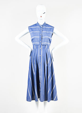 Tome Blue and White Striped Chambray Back Cut Out Sleeveless Shirt Dress Frontview