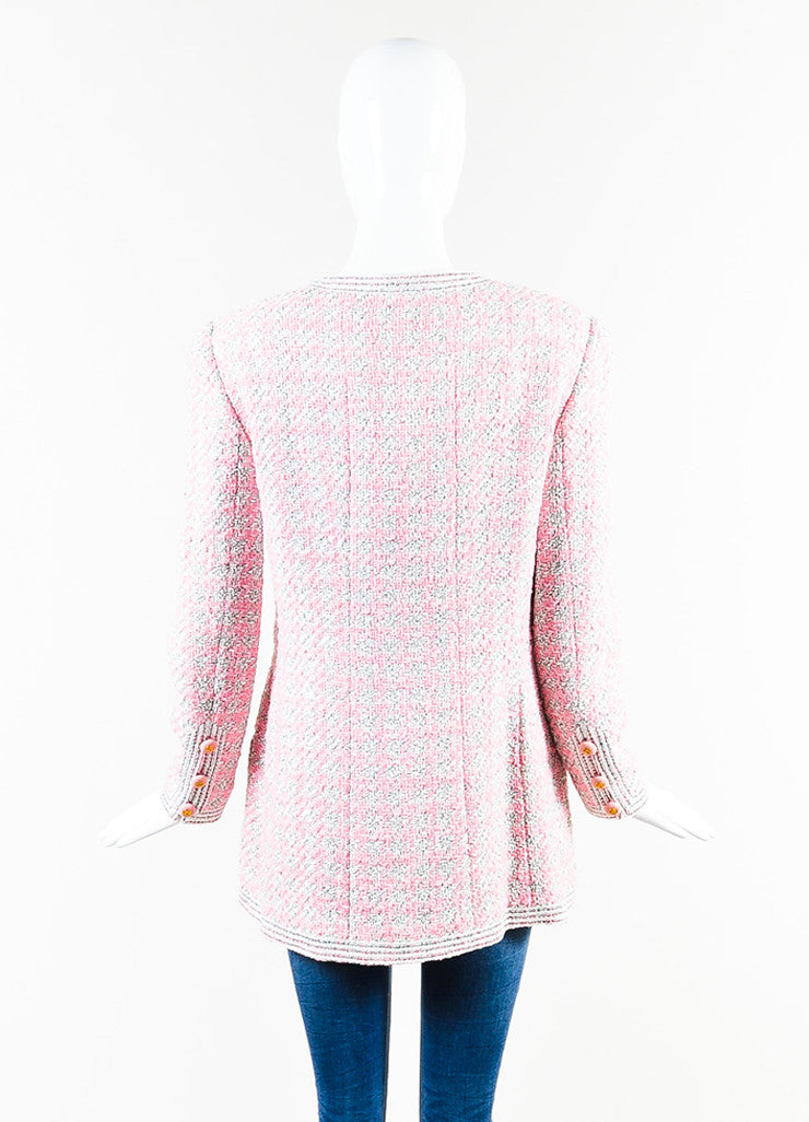 Chanel Pink and White Tweed Camellia Pinned Jacket Backview