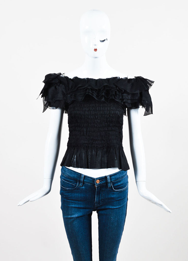 Black Chanel Boutique Off Shoulder Ruffle & Bow Trim Smocked Top Front