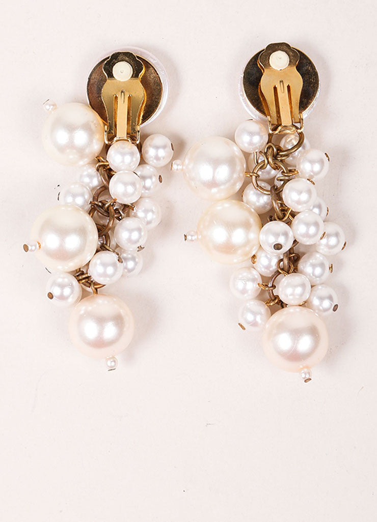 Vintage Cream and Gold Toned Dangling Faux Pearl Cluster Drop Earrings Backview