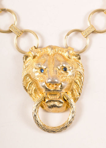 Hill Gold Toned Lion Head Door Knocker Chain Necklace Detail