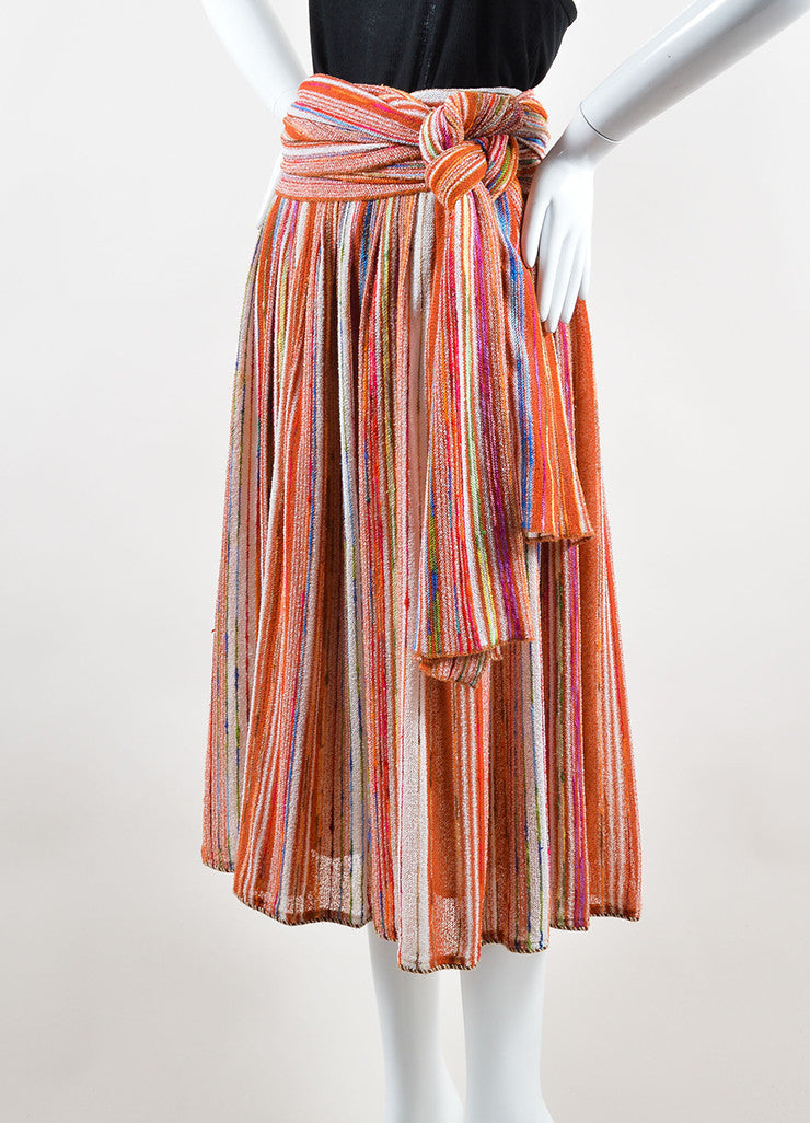 Lanvin Multicolor Striped Knit Midi Skirt With Wrap Sideview