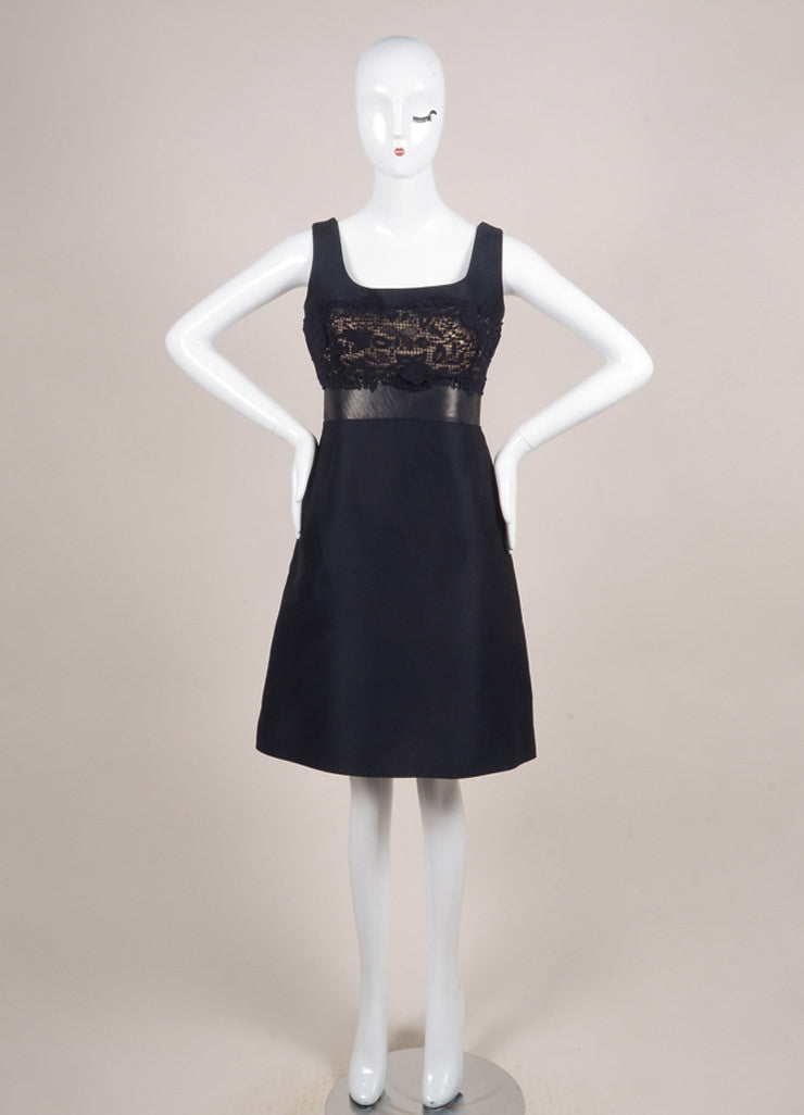 Valentino Navy Cotton and Leather Crochet Sleeveless A-Line Dress Frontview