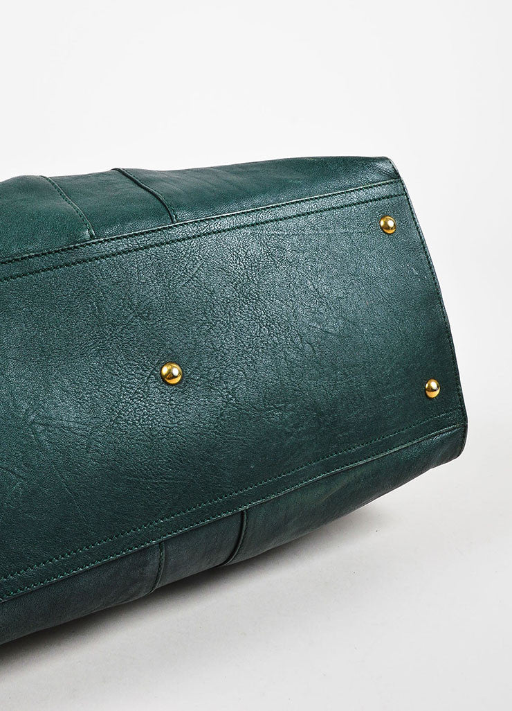 "Yves Saint Laurent Dark Green Gold Hardware ""Medium Cabas Chyc"" Bag Bottom View"