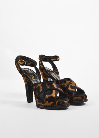 "Yves Saint Laurent  Leopard Pony Hair ""Tribute 105"" Strappy Sandals Frontview"