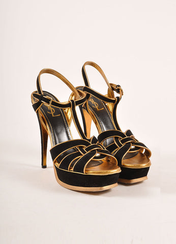 Yves Saint Laurent Black and Metallic Bronze Suede and Leather Platform Sandals Frontview