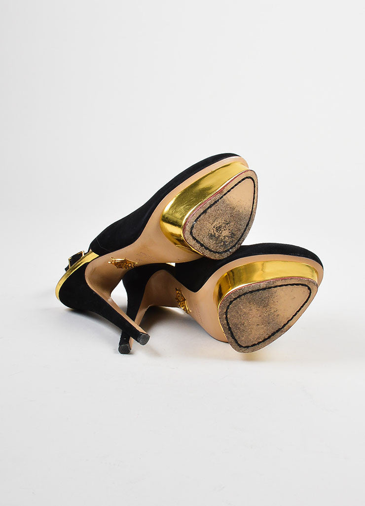 Black and Gold Metallic	Charlotte Olympia  Suede Leather Platform Pumps Outsoles