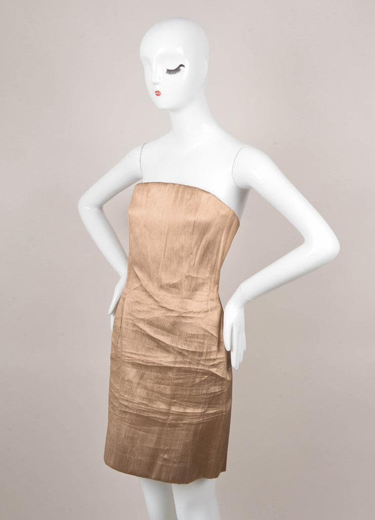 Gold Fitted Strapless Dress