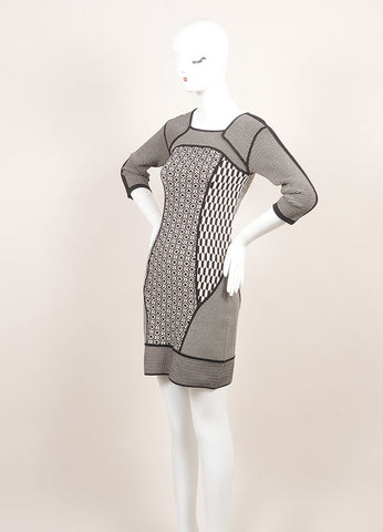 A.L.C. New With Tags Black and White Stretch Knit Multi Pattern Bodycon Dress Sideview