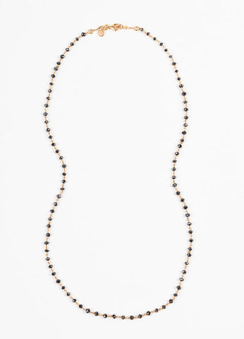 Aaron Basha 18K Rose Gold Black Diamond Beaded Chain Link Necklace Frontview