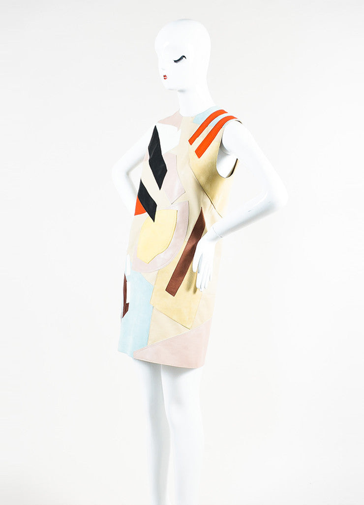 "Acne Studios Multicolor Leather Suede Patchwork ""Helima"" Dress Sideview"