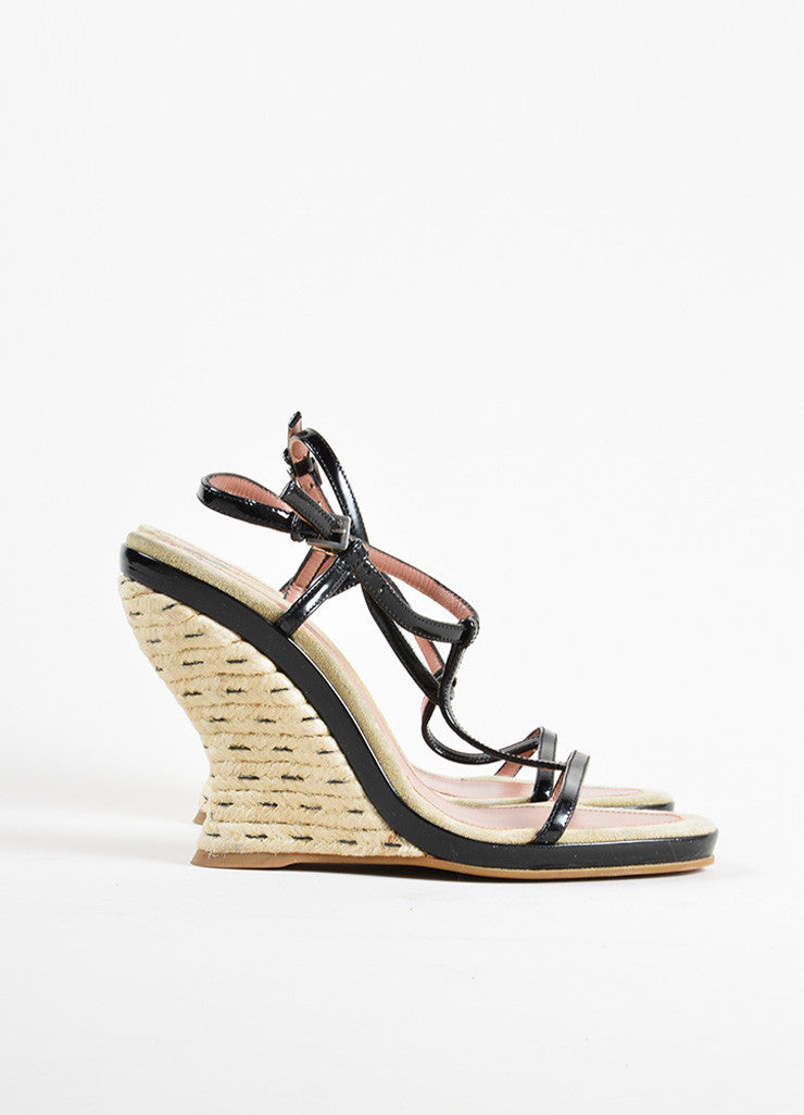 Alaia Black Patent Leather Espadrille Wedge T-Strap Sandals Sideview