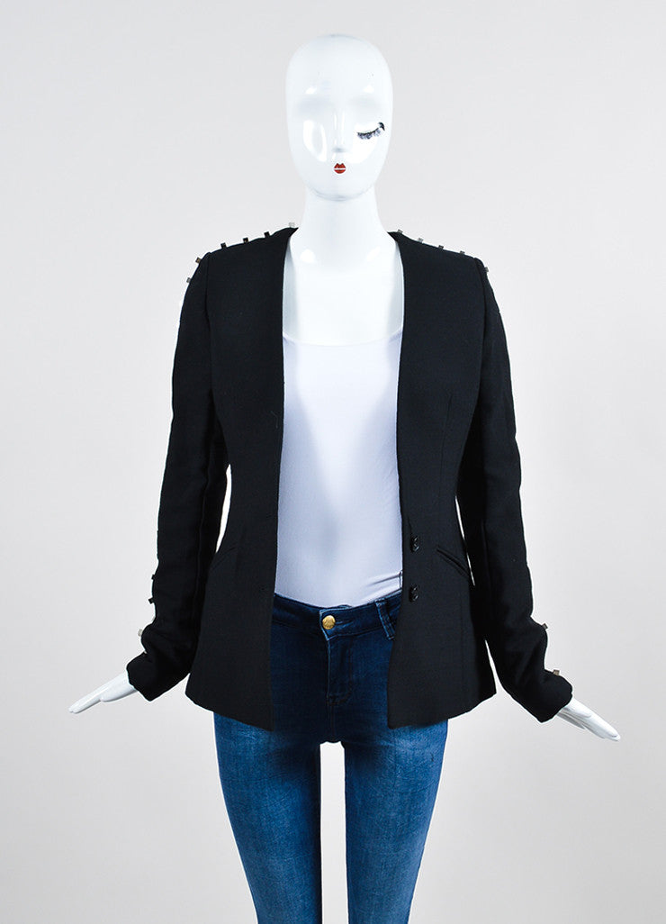 "Black Alexander Wang Wool Blend Studded Backless ""Rivet"" Blazer Frontview"